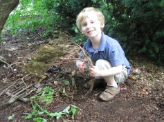 Alex loved making fairy houses!