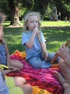 Roan gets a turn on Laurie's flute!