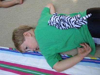 Owen got a tiger as his belly buddy.